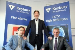 Keybury Fire and Security's joint managing director Frank Gee is pictured centre with new board members, Philip Marsh, left, and Jon Kendall.